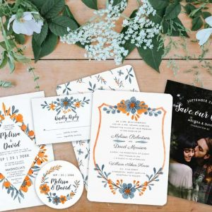 Whimsical blue orange floral classic wedding stationery suite